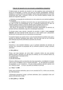 Cálculo do tamanho de uma amostra probabilística (aleatória)