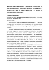 FICHAMENTO - CAPÍTULO VII PSICODIAGNÓSTICO INTERVENTIVO, ANACONA-LOPEZ - PSICODIAGNÓSTICO - 7° SEMESTRE