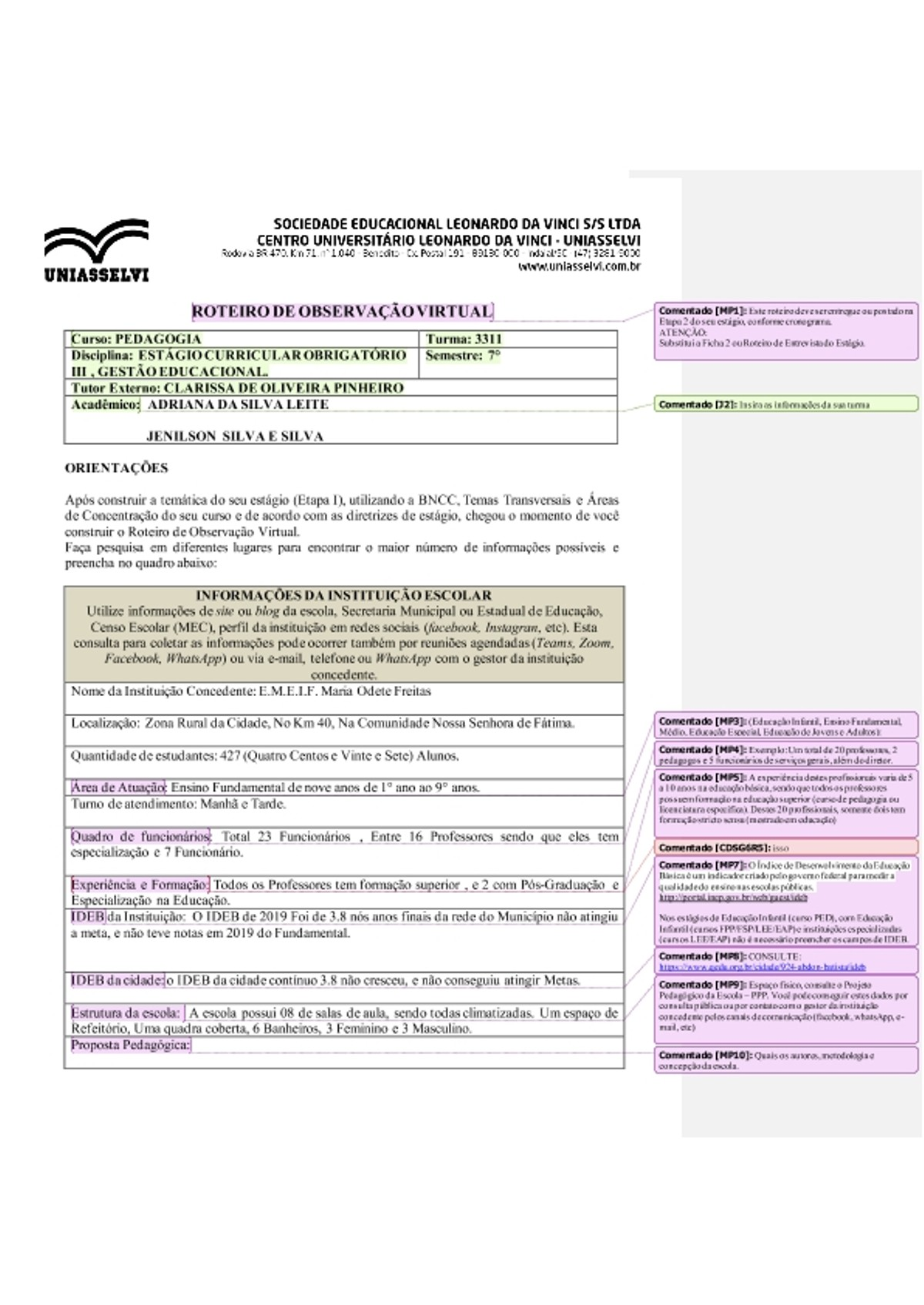 Pre-visualização do material (roteiro_de_observação, ESTÁGIO CURRÍCULAR III GESTÃO EDUCACIONAL - página 1