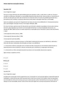 PROVA OBJETIVA EDUCAÇÃO ESPECIAL
