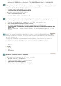 GESTÃO DE NEGOCIOS HOTELEIROS  TEST CONH 1 A 10