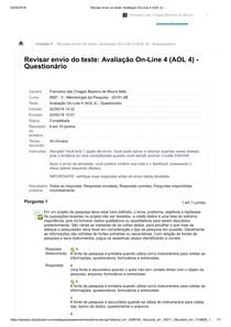 Avaliação AOL 4 - Ead Uninassau Redenção - Teresina