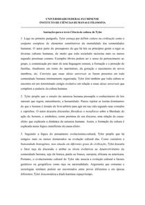 Fichamento - Ciência da cultura (Edward Tylor)