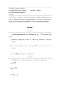 Prova 1 - Cálculo 2A