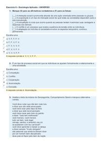 Exercício 6   Sociologia Aplicada - UNIVERSO