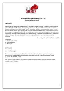 Atividade Supervisionada AV1 - Pesquisa Operacional