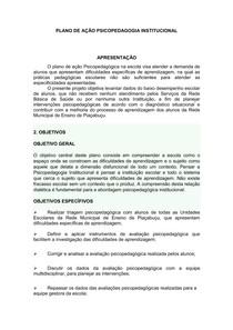 Plano De Ação Psicopedagogia Institucional1 Psicopedagogia