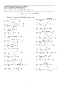 Cálculo I   2018.1   Lista 8