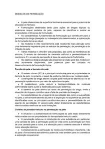 MODELOS DE PERMEAÇÃO - resenha