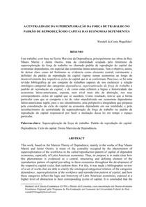 """A centralidade da superexploração da força de trabalho no padrão de reprodução do capital das economias dependentes - publicado como cap  7 do livro """"Agenda de debates e desafios teóricos   """" org"""