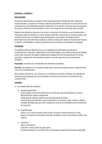 Estatistica - Unidade I - Resumo