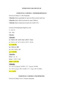 Cálculos - Agrometeorologia - Umidade do Ar