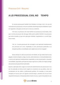 A lei processual civil no tempo - Resumo