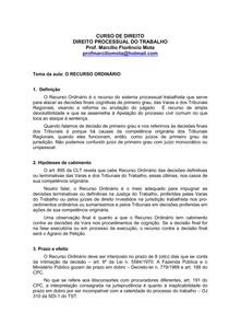 25a Aula Recurso Ordinário Direito Processual Do Trabalho I