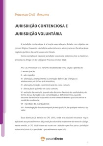 Jurisdição contenciosa e jurisdição voluntária - Resumo