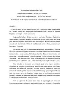 Avaliação de História da Educação e da Escola no Brasil