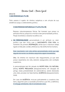 RESUMO - DIREITO CIVIL - DAS PESSOAS (art. 1º a 78)