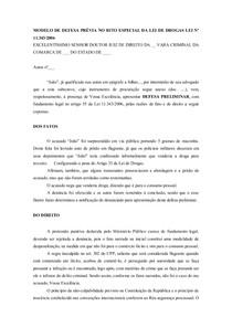Modelo De Defesa Prévia No Rito Especial Da Lei De Drogas Lei