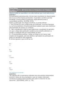 Prova Online   METODOLOGIA DA PESQUISA E DO TRABALHO CIENTÍFICO 1