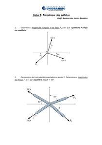 Lista 2  Mecânica dos sólidos ungranrio