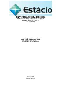 ATIVIDADE ESTRUTRADA DE MATEMATICA FINANCEIRA