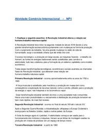 Atividade Comércio Internacional - NP1