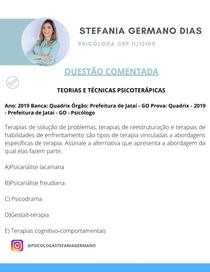 QUESTÃO COMENTADA PROFE STEFANIA TEORIAS E TÉCNICAS PSICOTERÁPICA