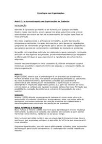 Aula 07 – A Aprendizagem nas Organizações de Trabalho