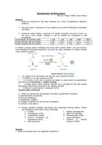 Estudo dirigido - enzimas, via glicolítica, ciclo de Krebs, fosf oxidativa