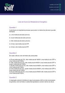 Lista de Exercício Metabolismo energético