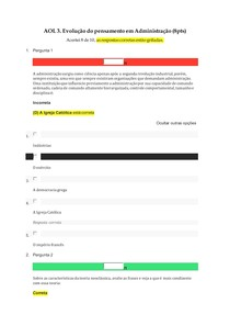 AOL 3 Evolução do pensamento em administração