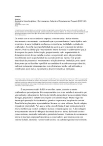 Seminário Interdisciplinar: Recrutamento, Seleção e Departamento Pessoal (RHU100)