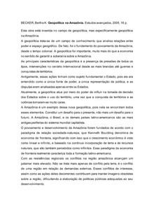 Resenha Geopolítica na Amazônia.