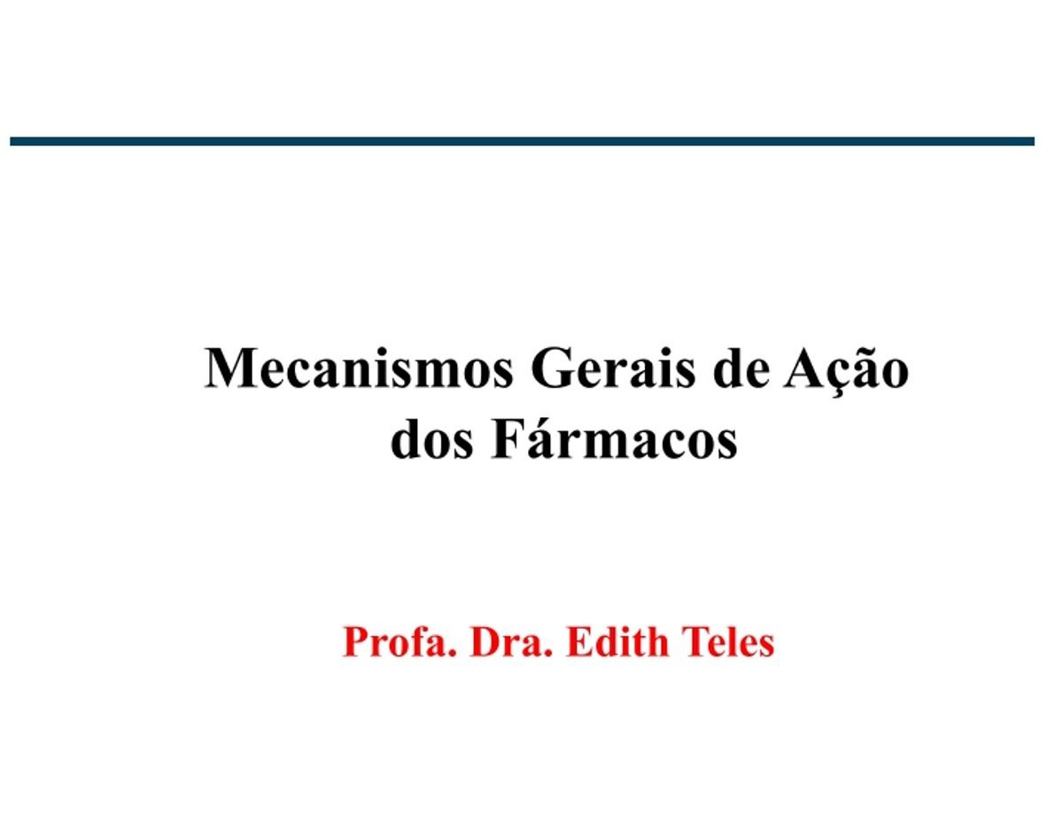 Pre-visualização do material Aula 4 - Farmacodinâmica - página 1