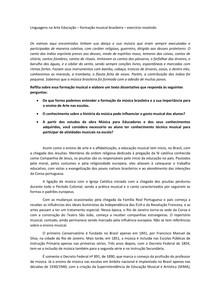 Linguagens na Arte Educação formação musical brasileira exercício resolvido