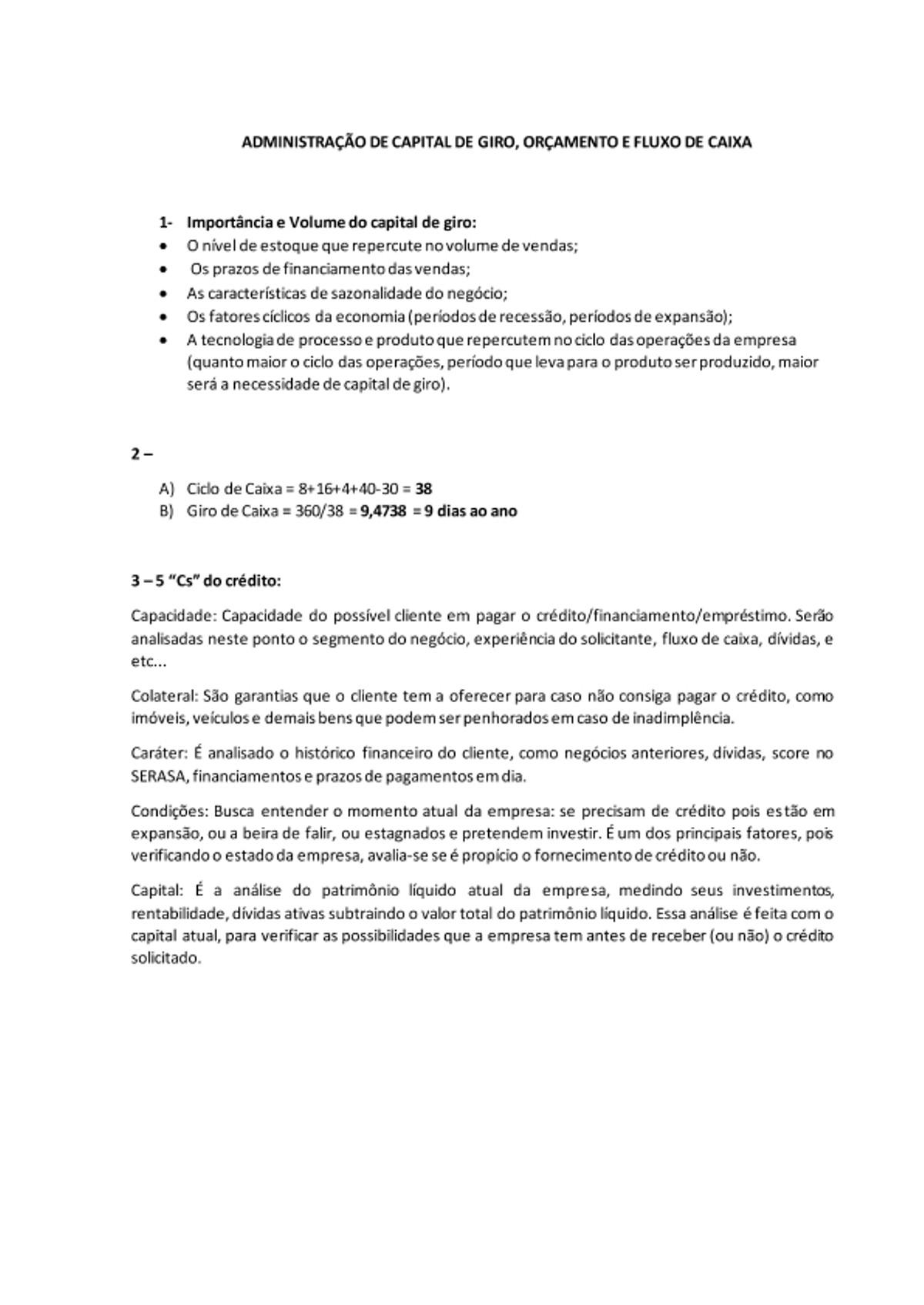 Pre-visualização do material ADMINISTRAÇÃO DE CAPITAL DE GIRO - página 1