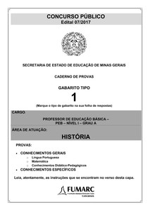 398760f0253 fumarc 2018 see mg professor de educação básica historia prova - 11