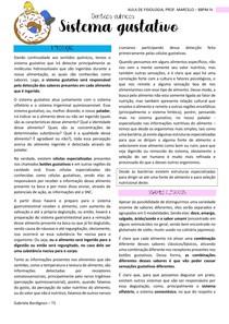 SISTEMA GUSTATIVO, FISIOLOGIA- BBPM IV