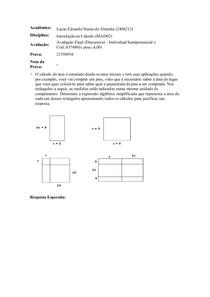 Avaliação Final (Discursiva) - Introdução ao calculo