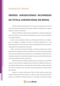 Órgãos jurisdicionais incumbidos da tutela jurisdicional no Brasil - Resumo