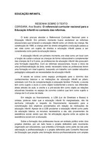 Resenha CERISARA, Ana Beatriz. O referencial curricular nacional para a Educação Infantil no contexto das reformas.