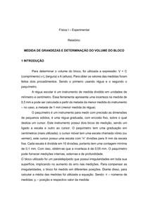 Relatório Física: Grandezas e Determinação do Volume do Bloco