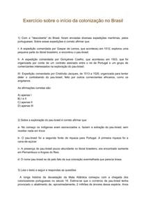 Exercício sobre o inicio da colonização no Brasil