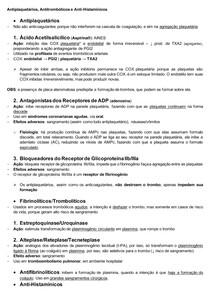 Antiplaquetários, antitrombóticos e anti-histamínicos (Resumo)