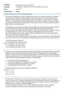 SOCIOLOGIA DO TURISMO - Avaliação II - Individual FLEX ( Cod 456809)