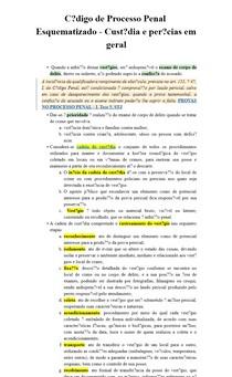 Código de Processo Penal Esquematizado - Custódia e perícias em geral