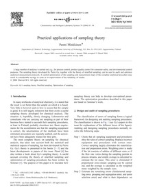 Practical applications of sampling theory