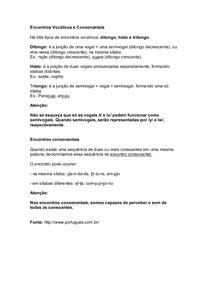 Fonética e Fonologia - Encontros Vocálicos e Consonantais