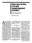 Terapia Comportamental - Com o que de fato trabalha