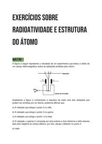 Exercícios sobre Radioatividade e Estrutura do átomo